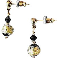 Stunning Venetian Art Glass Earrings, Black & 24K Gold Foil Murano Glass