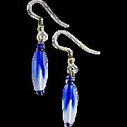 Stunning Czech Art Glass Earrings, Rare 1960's Cobalt Blue Czech Beads