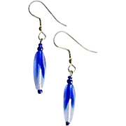 Stunning Czech Art Glass Earrings, Rare 1960's Cobalt Blue Czech Beads