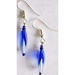 Stunning Czech Art Glass Earrings, Rare 1960's Blue Czech Beads