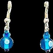 Mod Turquoise Czech Art Glass Earrings, RARE 1960's Vintage Czech Beads