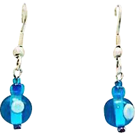 Mod Turquoise Czech Art Glass Earrings, RARE 1960's Vintage Czech Beads