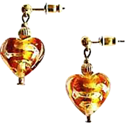 Gorgeous Venetian Art Glass Earrings, Topaz Swirl 24K Gold Foil Murano Glass Hearts