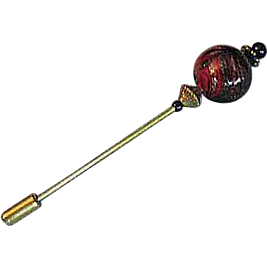 Gorgeous Venetian Aventurina Art Glass Stick Pin, Red & Black, Hat Pin