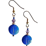 Striking Czech Art Glass Earrings, RARE 1940's Czech Glass Beads, Periwinkle Blue