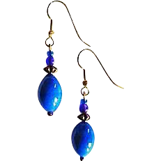 Gorgeous Czech Art Glass Earrings, RARE 1940's Czech Glass Beads, Periwinkle Blue
