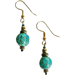Gorgeous Venetian Art Glass Earrings, Rare 1930's Aventurine Murano Glass Beads