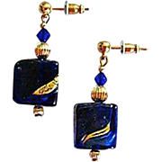 Stunning Venetian Art Glass Earrings, Cobalt Blue 24K Gold Foil Murano Glass Beads