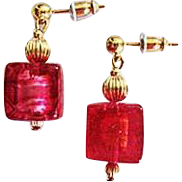Dazzling Venetian Art Glass Earrings, 24K Gold Foil, Murano Glass Beads