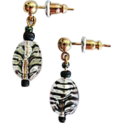Fabulous Czech Art Glass Earrings, SCARCE 1960's Czech Stripe Glass Beads