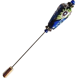 Gorgeous Venetian Millefiori Art Glass Stick Pin, RARE 1800's Venetian Glass Bead, Antique Bead, Hat Pin