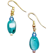 Stunning Teal Czech Art Glass Earrings, RARE 1960's Czech Glass Beads