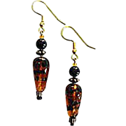 Fabulous Czech Art Glass Earrings, SCARCE 1960's Czech Tiger Stripe Glass Beads