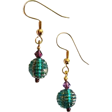 Elegant Venetian Glass Earrings, RARE 1930's Venetian Glass Beads, Teal & Gold