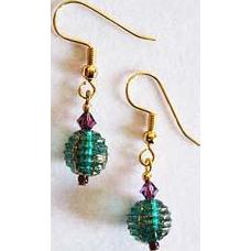 Elegant Venetian Glass Earrings, RARE 1930's Venetian Glass Beads, Teal & Gold