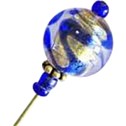 Stunning Venetian Art Glass Stick Pin, Murano Glass Bead, 24K Gold Foil, Blue Swirl, Hat Pin