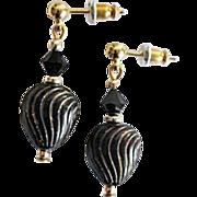 ELEGANT Venetian Art Glass Earrings, RARE 1930's Venetian Art Deco Glass Beads, Black & Gold