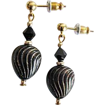 Elegant Venetian Glass Earrings, RARE 1930's Venetian Art Deco Beads, Black & Gold