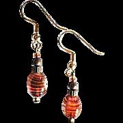 Fabulous Czech Art Glass Earrings, SCARCE 1960's Czech Glass Beads, Amber Stripes, Pink