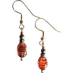 Fabulous Czech Art Glass Earrings, SCARCE 1960's Czech Glass Beads, Amber Stripes, Pink