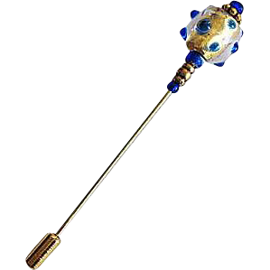 Gorgeous Venetian Art Glass Stick Pin, 24K Gold Foil Murano Glass Bead, Cobalt Blue, Hat Pin