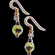 Gorgeous German Art Glass Earrings, RARE 1940's German Glass Beads