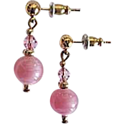 Stunning Art Deco Czech Art Glass Earrings, RARE 1930's Pink Czech Satin Glass Beads