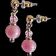 Stunning Art Deco Czech Art Glass Earrings, RARE 1930's Pink Czech Satin Glass Beads