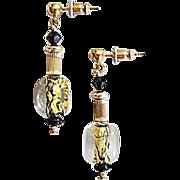 Dazzling Venetian Art Glass Earrings, Black & 24K Gold Foil, Murano Glass Beads