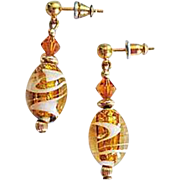 Dazzling Venetian Art Glass Earrings, Topaz & 24K Gold Foil Murano Glass Beads