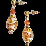 Dazzling Venetian Art Glass Earrings, Topaz & 24K Gold Foil Murano Glass Beads