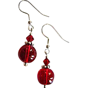 Gorgeous Red Czech Art Glass Earrings, RARE 1940's Czech Glass Beads