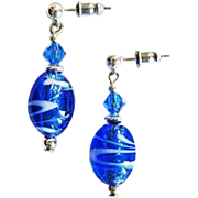 Dazzling Venetian Art Glass Earrings, Blue & Silver Foil Murano Glass Beads