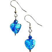 Stunning Venetian Millefiori Art Glass Earrings, Hearts, Flower,  Turquoise & White Murano Glass Beads