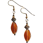Gorgeous Czech Art Glass Earrings, RARE 1940's Amber Czech Beads