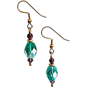 Stunning Green Austrian Crystal Glass Earrings, RARE 1940's Austrian Crystal Beads