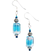 Stunning Czech Art Glass Earrings, RARE 1940's Aquamarine Czech Glass Beads