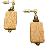 Fabulous West German Art Glass Earrings, SCARCE 1940's West German Pressed Glass Beads