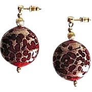 Gorgeous Venetian Art Glass Earrings, Rare 1940's Red Aventurine Murano Glass Beads