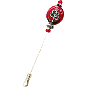Dazzling Red Czech Art Glass Stick Pin, RARE 1960's Czech 24K Gold Foil Flower Bead, Hat Pin