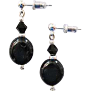 Fabulous Czech Art Glass Earrings, SCARCE 1960's Black Czech Glass Beads