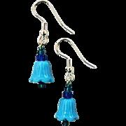 Fabulous Venetian Art Glass Bell Earrings, RARE 1930's Turquoise Venetian Beads