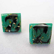Gorgeous Asian Green Art Glass Pierced Earrings, RARE 1960's Japanese Glass Beads, Cabochon