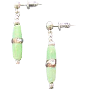 Stunning Green Venetian Art Glass Earrings, RARE Antique Silver Foil Venetian Glass Beads