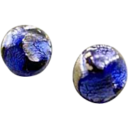 Dazzling German Blue Art Glass Pierced Earrings, RARE 1940's Silver Foil German Beads