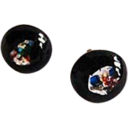 Dazzling Czech Art Glass Earrings, RARE 1960's Black Czech Silver Foil Beads