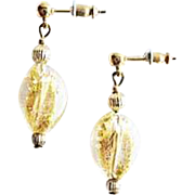Stunning Venetian Art Glass Earrings, 24K Gold Foil Murano Glass Beads