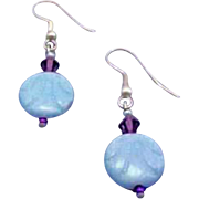 Stunning Art Deco Czech Glass Earrings, RARE 1930's Czech Deco Glass Beads, Aquamarine