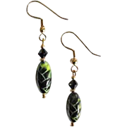 Striking Czech Art Glass Earrings, RARE 1960's Olivine and Black Czech Beads