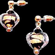 Gorgeous Venetian Art Glass Earrings, Black Swirl 24K Gold Foil Murano Glass Hearts